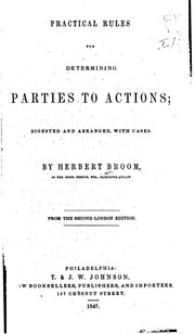 Cover of: Practical Rules for Determining Parties to Actions: Digested and Arranged, with Cases