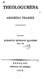 Cover of: Theologumena Aeschyli tragici