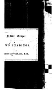 Cover of: Two Readings Delivered in the Middle Temple Hall