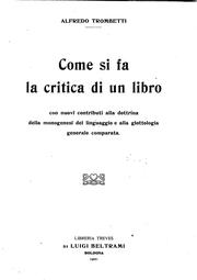 Cover of: Come si fa la critica di un libro..