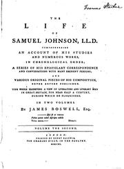 Cover of: The Life of Samuel Johnson, LL.D.: Comprehending an Account of His Studies ..