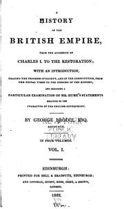 Cover of: A History of the British Empire: From the Accession of Charles I. to the Restoration; with an ..