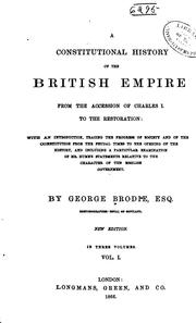 Cover of: A Constitutional History of the British Empire: From the Accession of ..