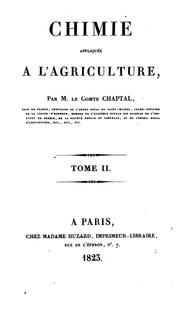 Cover of: Chimie appliquée à l'agriculture