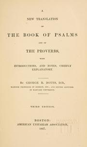 Cover of: A new translation of the book of Psalms and of the Proverbs