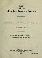 Cover of: Lac and the Indian lac research institute