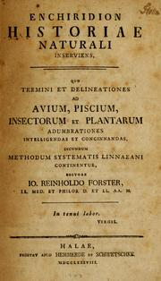 Cover of: Enchiridion historiae naturali inserviens
