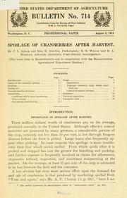 Cover of: Spoilage of cranberries after harvest