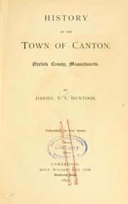 Cover of: History of the town of Canton