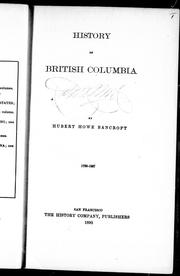 Cover of: History of British Columbia, 1792-1887