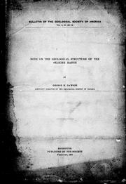 Cover of: Note on the geological structure of the Selkirk range
