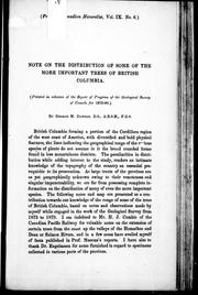 Cover of: Note on the distribution of some of the more important trees of British Columbia