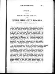 Cover of: On the Haida Indians of the Queen Charlotte Islands