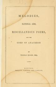 Cover of: Melodies, national airs, miscellaneous poems