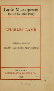 Cover of: Selections from his essays, letters and verses
