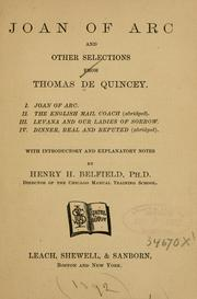 Cover of: Joan of Arc, and other selections from Thomas De Quincey