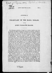 Cover of: Vocabulary of the Haida Indians of the Queen Charlotte Islands