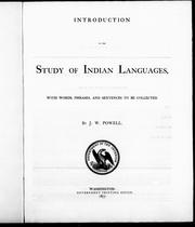Cover of: Introduction to the study of Indian languages: with words, phrases, and sentences to be collected