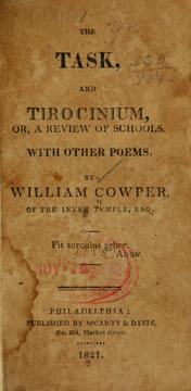 Cover of: The task, and Tirocinium