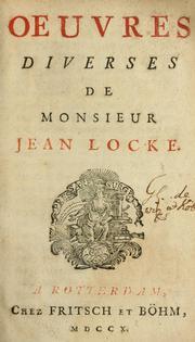 Cover Of Oeuvres Diverses De Monsieur Jean Locke
