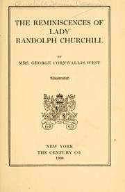 Cover of: The reminiscences of Lady Randolph Churchill