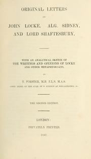 Cover Of Original Letters John Locke Alg Sidney And Lord Shaftesbury