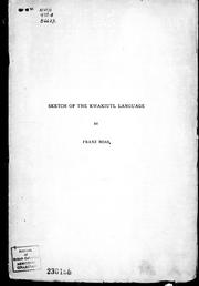 Cover of: Sketch of the Kwakiutl language