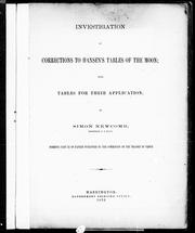 Cover of: Investigation of corrections to Hansen's Tables of the moon: with tables for their application