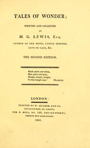 Cover of: Tales of wonder: written and collected by M. G. Lewis ... In two volumes