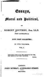Cover of: Essays, moral and political