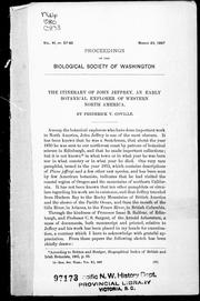 Cover of: The itinerary of John Jeffrey: an early botanical explorer of western North America