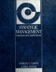 Cover of: Strategic management