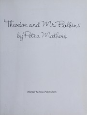 Cover of: Theodor and Mr. Balbini