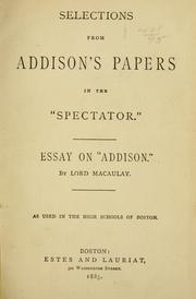 Cover of: Selections from Addison's papers in the Spectator