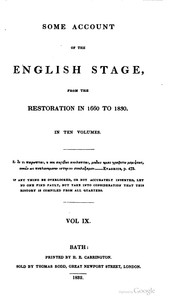 Cover of: Some account of the English stage, from the restoration in 1660 to 1830