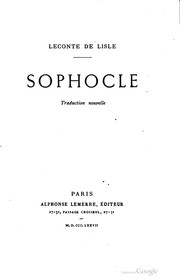 Cover of: Sophocle