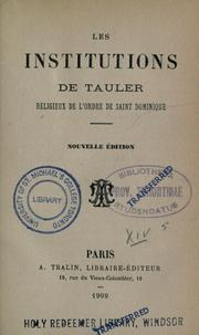 Cover of: Les institutions de Tauler