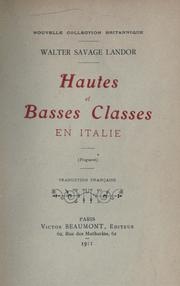 Cover of: Hautes et basses classes in Italie