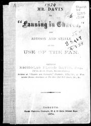 "Cover of: Mr. Davin on ""Fanning in church"", and, Addison and Steele on the use of the fan"