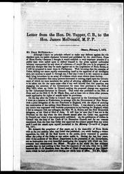 Cover of: Letter from the Hon. Dr. Tupper, C.B., to the Hon. James McDonald, M.P.P