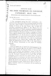 Cover of: Despatch from Sir John Thompson on Canadian copyright, May, 1894