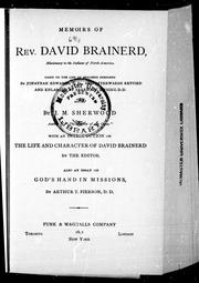 Cover of: Memoirs of Rev. David Brainerd, missionary to the Indians of North America