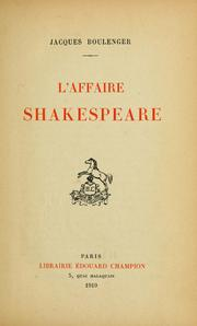 Cover of: L' affaire Shakespeare.