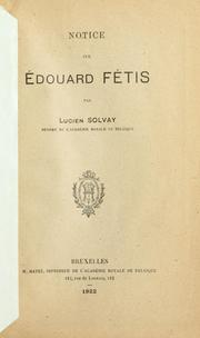 Cover of: Notice sur Édouard Fétis