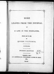 Cover of: More leaves from the journal of life in the Highlands, from 1862 to 1883