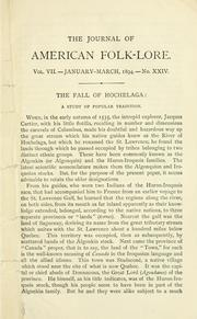 "Cover of: Two essays in folk-lore: The fall of Hochelaga; a study of popular tradition, and ""Above"" and ""Below""; a mythological disease of language."