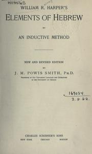 Cover of: Elements of Hebrew: by an inductive method