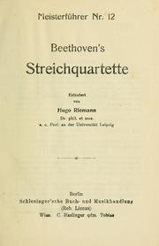 Cover of: Beethoven's Streichquartette