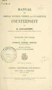 Cover of: A manual of simple, double, triple and quadruple counterpoint