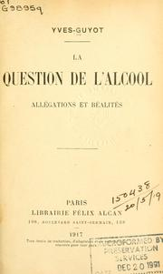 Cover of: Question de l'alcool